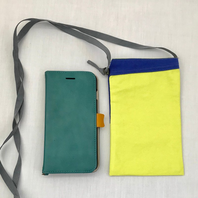 Pochette for mobile and valuables : Neon Yellow +Blue