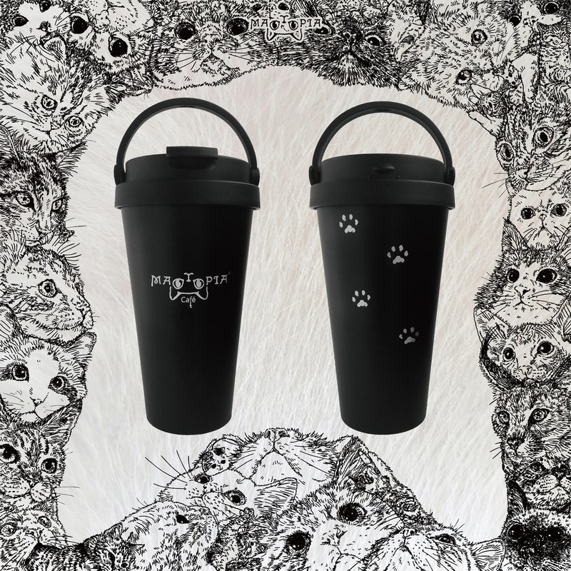 | There are cats in my cup | Black cat 500ml stainless steel mug