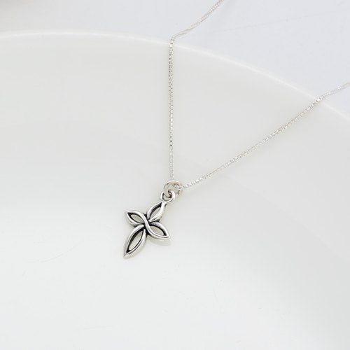 Small Curve Cross s925 sterling silver necklace Valentine's Day gift