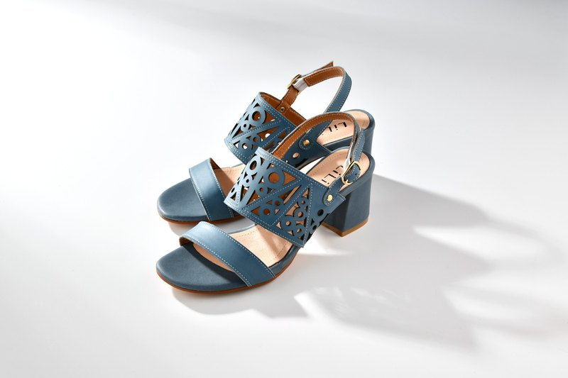 [Geometry Story] Laser Hollow Leather Shaped Thick Sandals_莫兰迪蓝