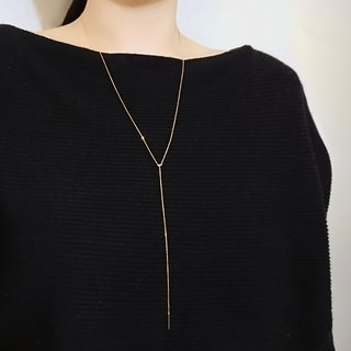 18K Yellow Solid Gold Dainty Adjustable Lariat Long Necklace - Au750