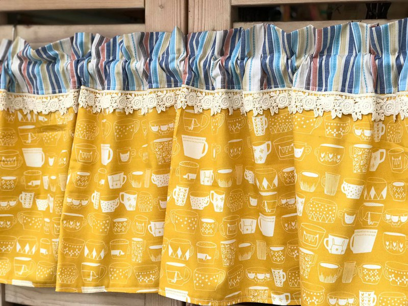 Oreta Hand Made ** Yellow Bottom Blue Line Grocery Wind Mug Short Curtain