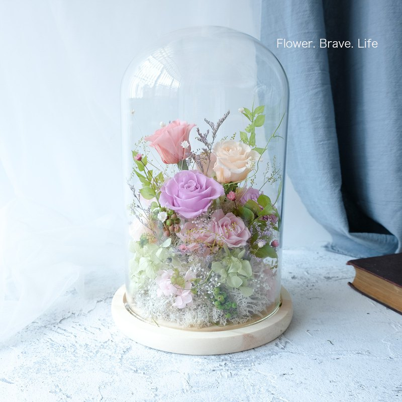 Large glass bell / pink / no withered / eternal flower / dry flower / rose / Tanabata / Valentine's Day