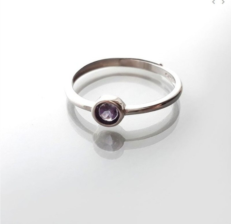 925 Silver White Amethyst Amethyst Bag Ring 4mm