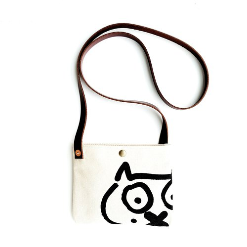VINTAGE Personality Original Retro DIY Manual Shoulder Messenger Cat Mini Mobile Phone Pouch
