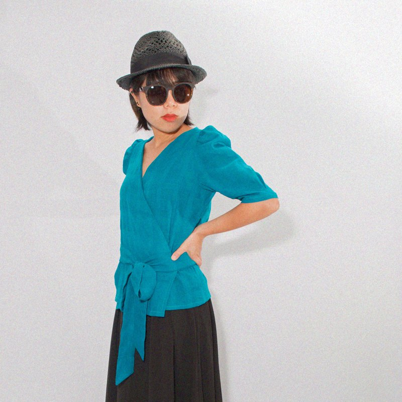 FABIO Puff Sleeve Wrap Top - Teal