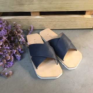 CLAVESTEP X Sandals - Leather Sandals - Ten - Navy Blue