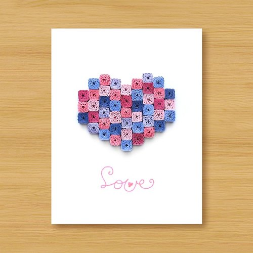 Hand roll 8bit card: romantic mosaic love (birthday card, lover card, mother card, wedding greeting card)