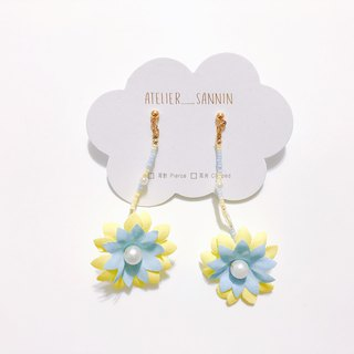 Afternoon sun flower flower cloth hand made drape cute limited ear pin / ear clip