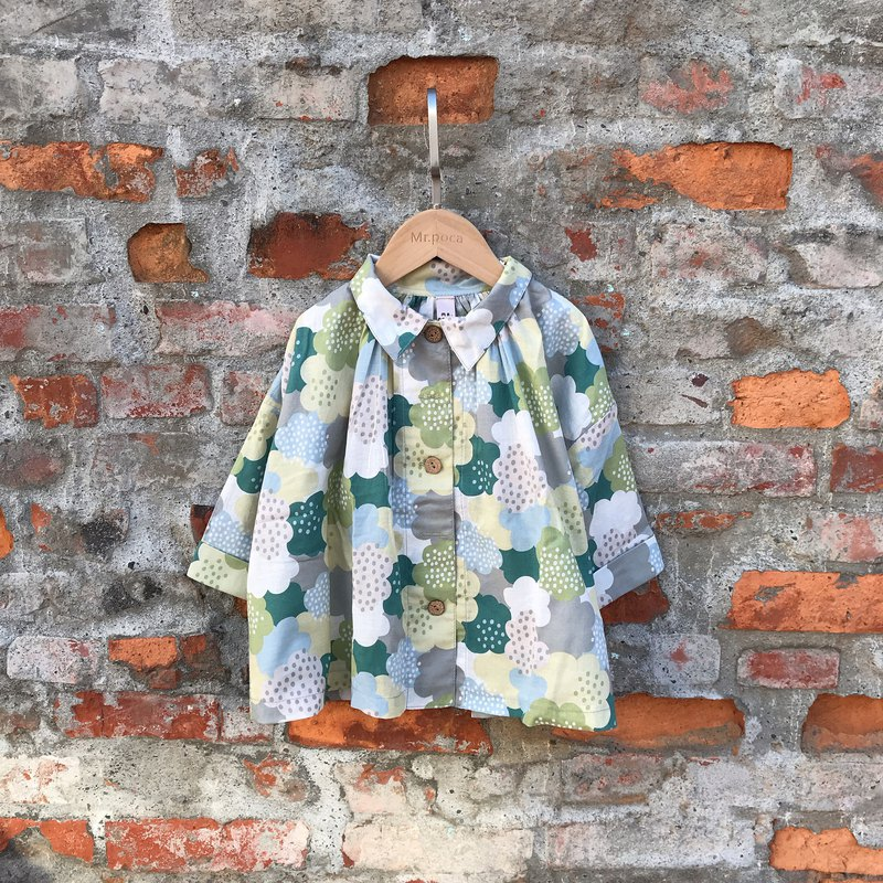 Printless Wide Shirt-Japanese Green Clouds