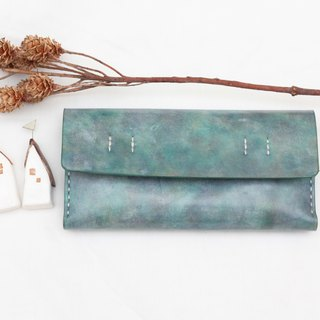 Accordion vegetable tanned leather long wallet - My little green - Pacific blue color