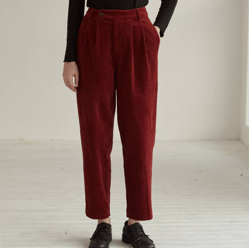 Sudden Red Blue Scarlett Red Christmas Corduroy Casual Trousers Washed Tapered Autumn Winter Pants
