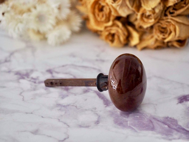 【Sale】British old ceramic door handle brown long door handle