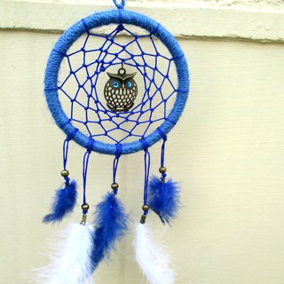 Small kite - Owl Guardian Dreamcatcher - Blue 10 cm