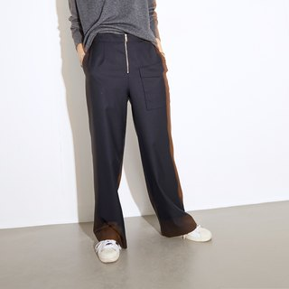 GAOGUO originality brand 100%wool pocket zipper wide legged suit pants