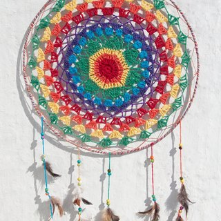 A super limited edition hand-woven cotton rainbow colors Dreamcatcher Charm - colorful style lace dyed color line segment 39.5 cm (oversized)