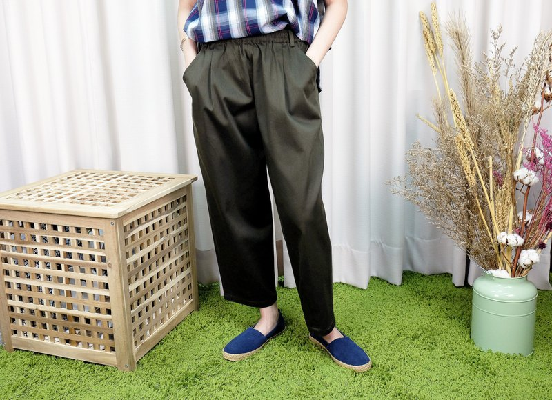Tapered Casual Wide Pants/Army Green Cotton