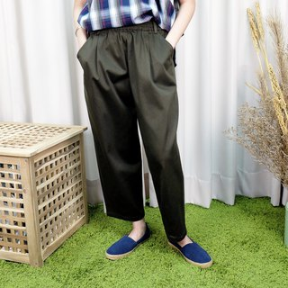 Conical casual wide pants / military green cotton