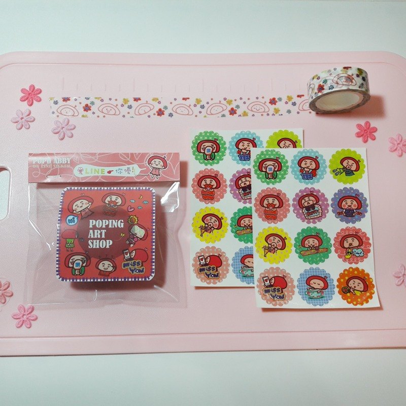 【POPO ABBY】◇ PAPER TAPE & STICKER SET◇ LINE STICKER DESIGN  LIMITED EDITION STATIONERY