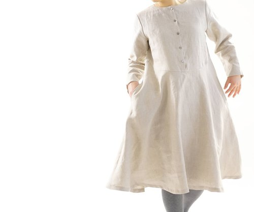 linen dress / flare dress / sleeves with slits / front button / flaxen / a19-34