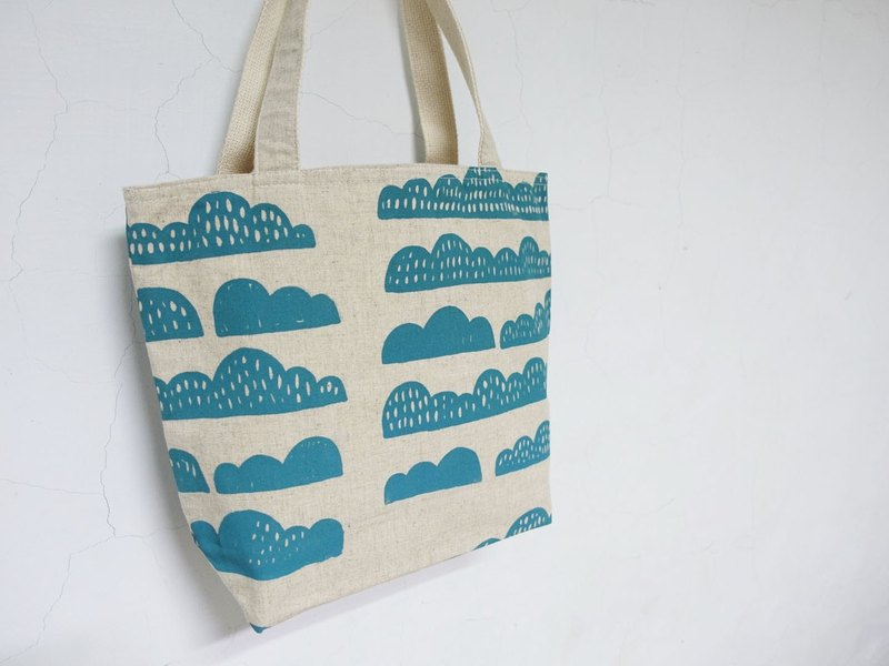 Screen printing Shoulder bag mountain Blue green