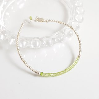 【ColorDay】 Eternal ~ Peridot sterling silver bracelet _ August Birthstone (Peridot / Peridot)