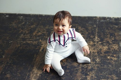 MARLMARL Baby Bib Collet collar series (navy blue stripes)