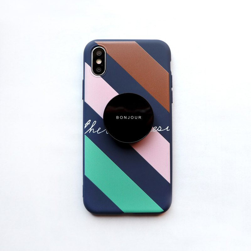 Dark blue French four-color stand phone case