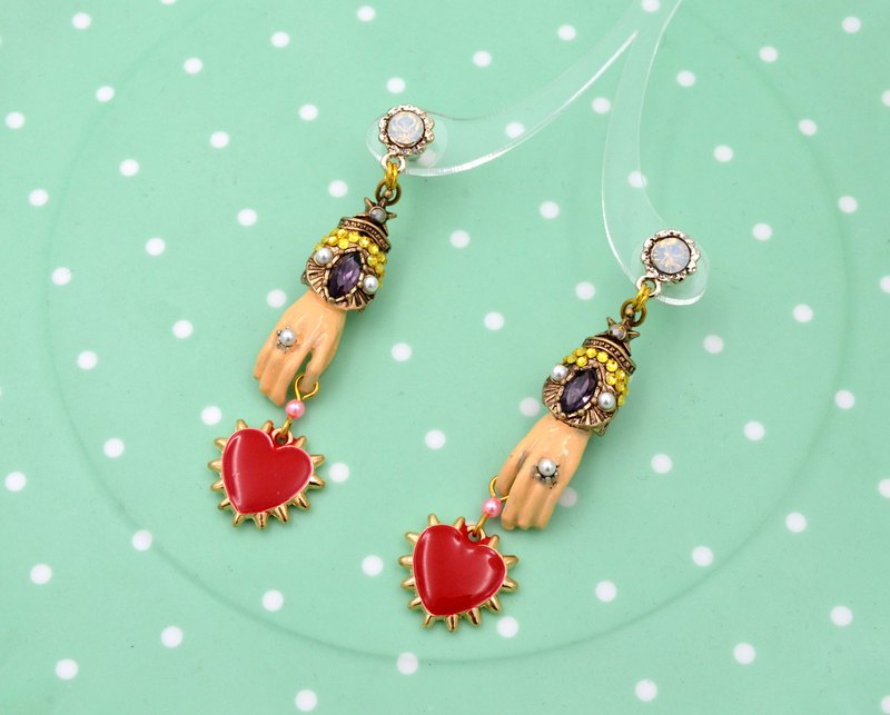 TIMBEE LO Little Red Heart Earring Stereo Tattoo Totem Style