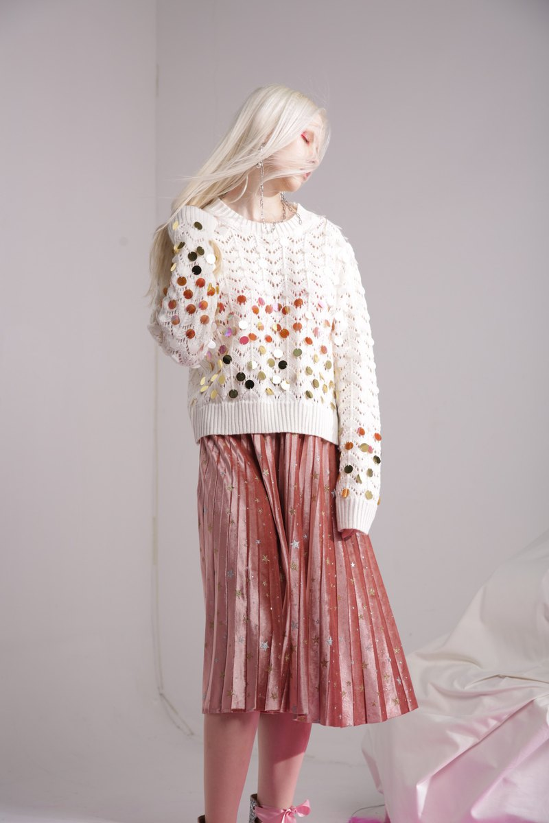 Hand sequined pattern sweater long-sleeved sweater m white spring models