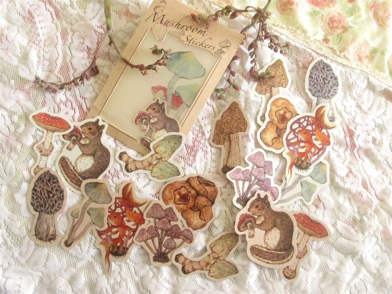 Forest mushroom squirrel sticker