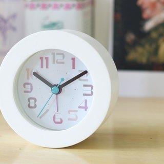 White Round wood frame Alarm Clock- Light Pleasure