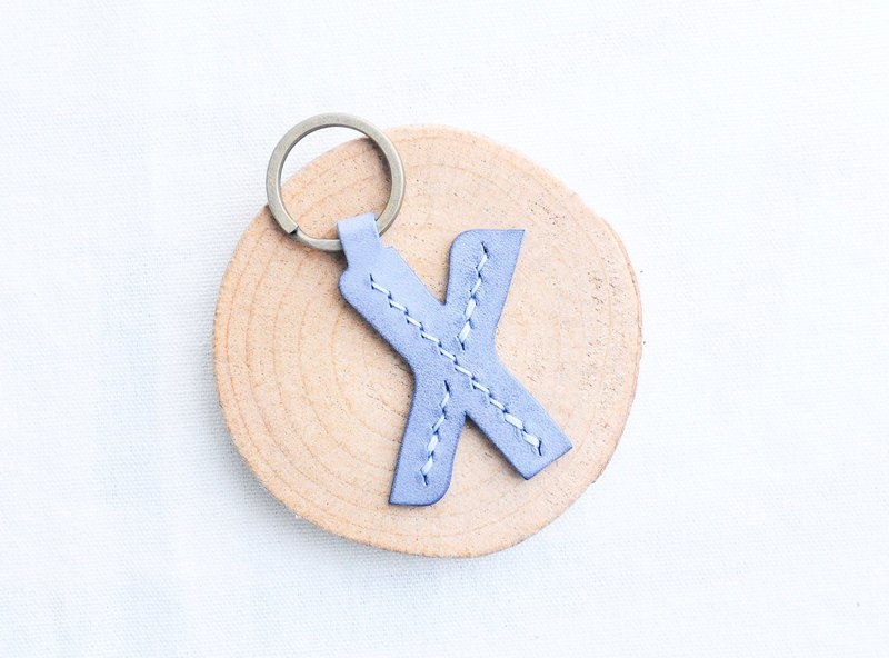 【First letter X | English letter key chain - white wax skin group | WW】 good sewing leather material package hand wrapped wax leather key chain key ring simple and practical Italian leather tanned leather DIY