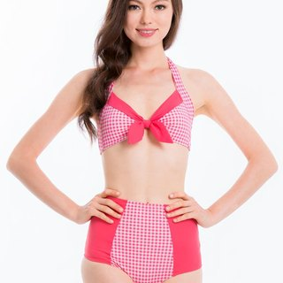 SEY Swimwear Halter Neck Bikini Top Pink Plaid