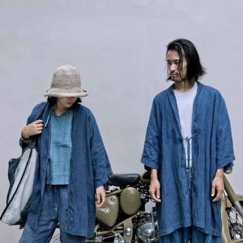 Blue Dyeing Robe | Natural Plant Blue Dyeing Japanese Style Bandwidth Loose-Long Coat Trench Coat Neutral Male and Female Couple with Spring Summer Dress Japanese-Style Kimono Cardigan Hand-Made 100% Hibiscus | NAMSAN INDIGO