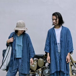 Blue dyed robes | natural plant blue dyed Japanese style band width pine long coat windbreaker neutral men and women models