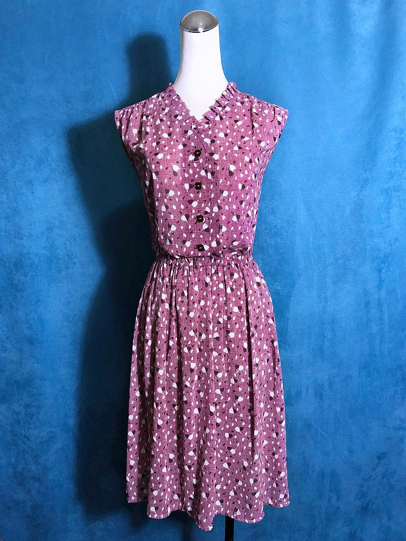 Ruffled flower fine sleeveless vintage dress / bring back VINTAGE abroad