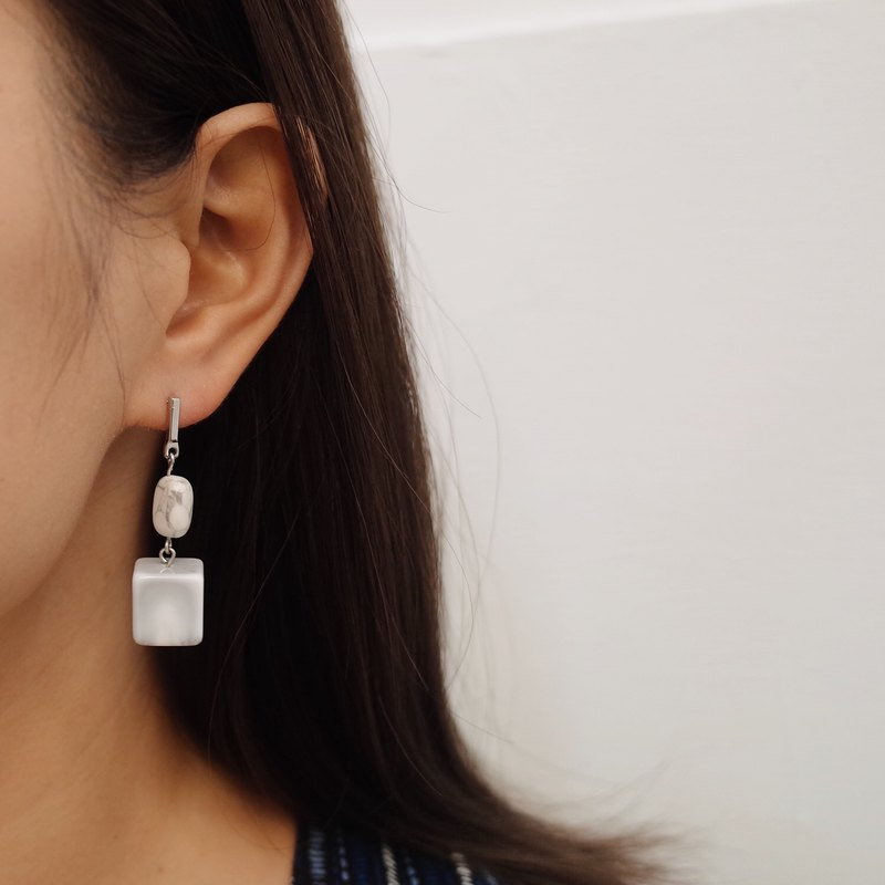 Ink Square - Draped Earrings Earrings (pair) [Changeable Ear Clips]