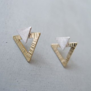 Geometric triangle bimetallic earrings