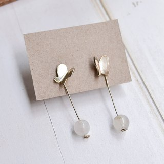 Slightly luminous, small butterfly earrings