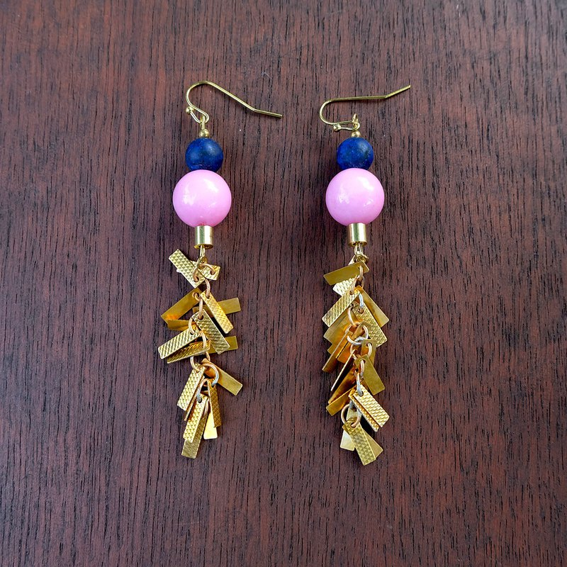Pink Opal and Lapis stone Brass chain earrings (code :che 007)