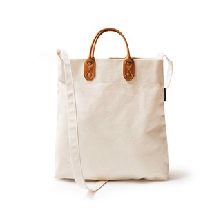 Simple M leather canvas shopping bag new side strap handbag beige DG26
