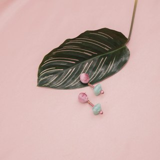 Dusty Rose and Green Velvet Earrings