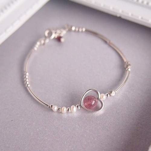 | Cupid's Arrow | Love Marriage Strawberry Crystal Pearl Red Garnet Silver Bracelet