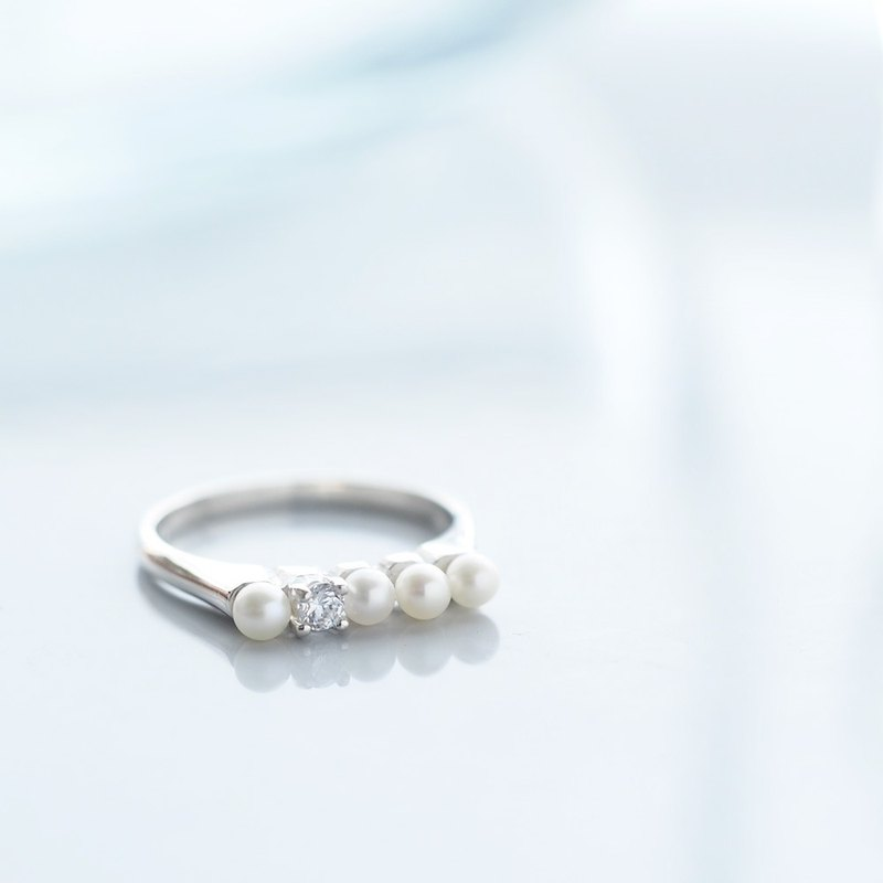 White pearl ring 925 Silver