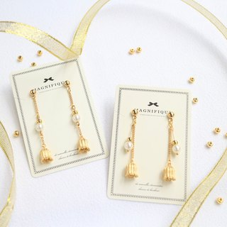 2 sets--18kgf flower petal pearl long earrings gold