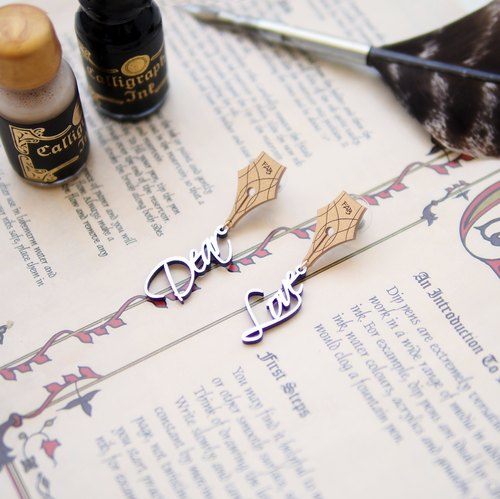 Dear Love Calligraphy Earrings