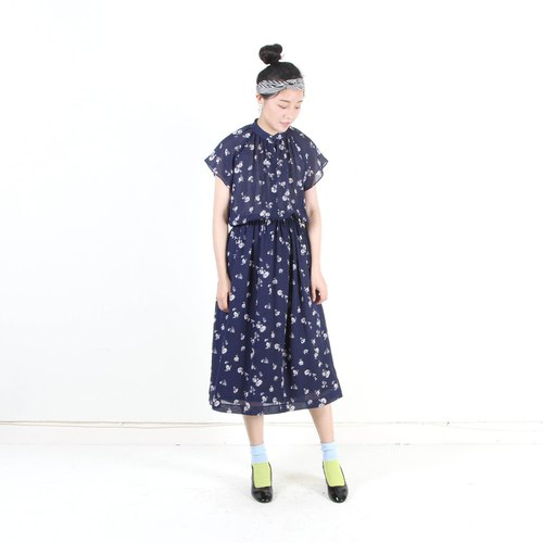 [An old egg plant] Pu Gongying printing short-sleeved vintage dress