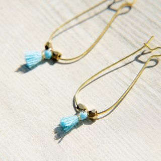 Christmas / simple sense / retro golden hue brass earrings Ear - Oval geometric aesthetic tassel (sky blue / violet)