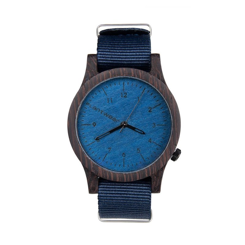 Plantwear – HERITAGE SERIES – BLUE EDITION – EBONY WOOD TIMBER WRIST WATCH